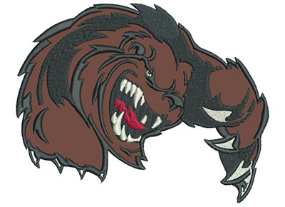 "Embroidery Design: Clawing Bear 6"" Applique 6.01w X 4.73h"