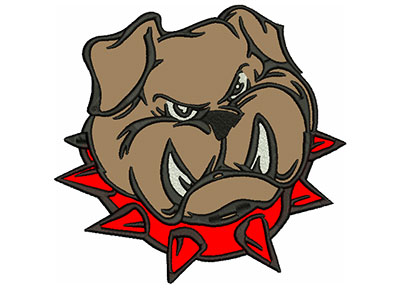 "Embroidery Design: Bulldog 7"" Applique 7.02w X 6.70h"