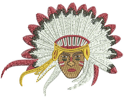 Embroidery Design: Indian Chief Head Sm 3.00w X 2.31h