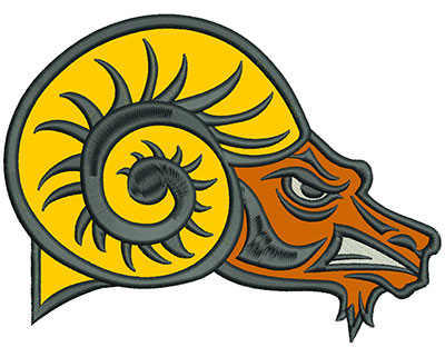 "Embroidery Design: Rams Heads 6"" Applique 6.00w X 4.50h"