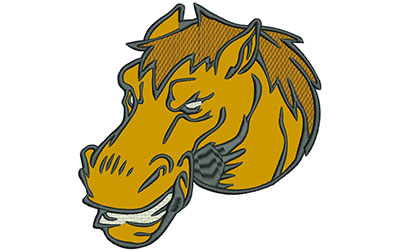"""Embroidery Design: Mustang Head 6"""" Applique 5.93w X 6.01h"""
