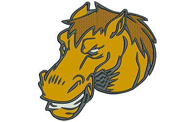 """Embroidery Design: Mustang Head 7"""" Applique 6.92w X 7.01h"""