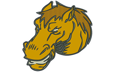 """Embroidery Design: Mustang Head 8"""" Applique 7.90w X 8.01h"""