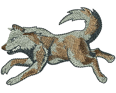 Embroidery Design: Running Wolf Lg 4.02w X 2.76h