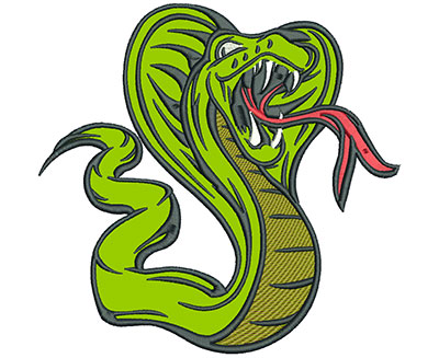 "Embroidery Design: Cobra 7"" Applique 7.01w X 6.81h"