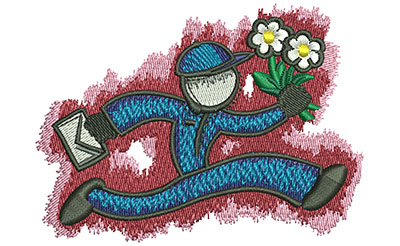 Embroidery Design: Running Florist Lg 3.51w X 2.56h