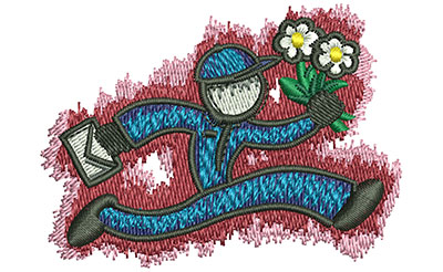 Embroidery Design: Running Florist Sm 2.51w X 1.84h