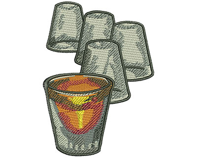 Embroidery Design: Shot Glasses Lg 2.93w X 4.08h
