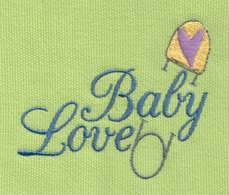 "Embroidery Design: Baby Love 23.54"" x 2.93"""