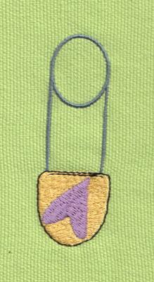 """Embroidery Design: Diaper Pin1.06"""" x 3.01"""""""