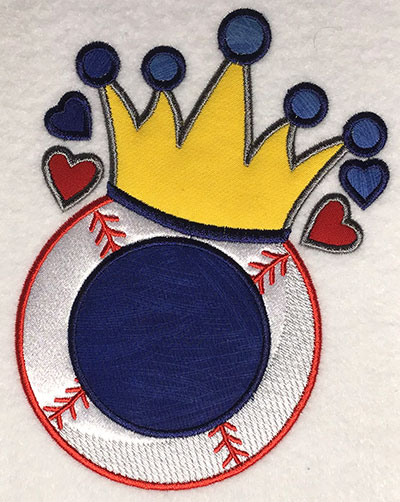 Embroidery Design: Baseball Crown Monogram Applique 5.09w X 6.39h