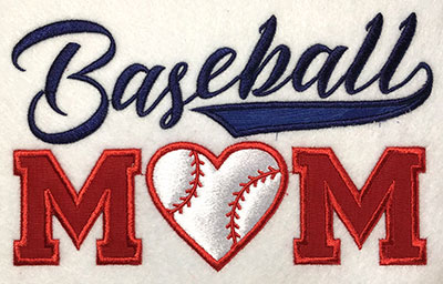 Embroidery Design: Baseball Mom Applique 6.83w X 4.18h
