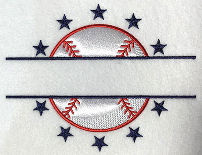 Embroidery Design: Baseball Split Applique 6.40w X 5.00h