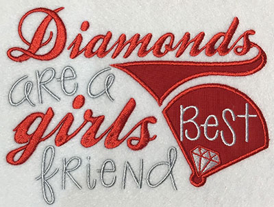 Embroidery Design: Diamonds Are A Girls Best Friend Applique 6.70w X 5.11h