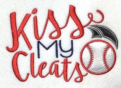 Embroidery Design: Kiss My Cleats Applique 5.95w X 4.15h
