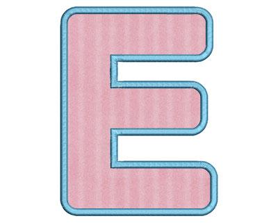 Embroidery Design: E Bold Applique Large 4.31w X 5.76h