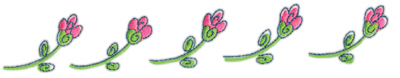 """Embroidery Design: Row of Pink Flowers9.26"""" x 1.46"""""""