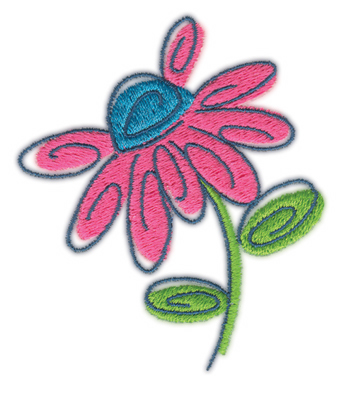 """Embroidery Design: Flower 52.85"""" x 3.33"""""""