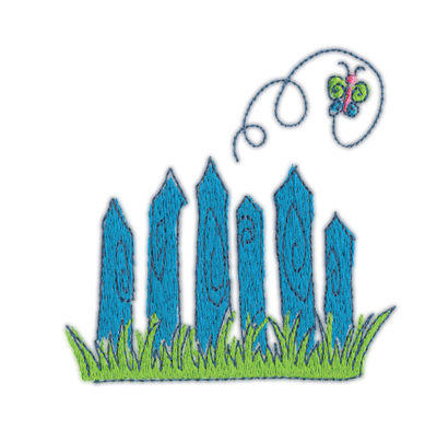 "Embroidery Design: Fence w/ Butterfly3.62"" x 3.60"""