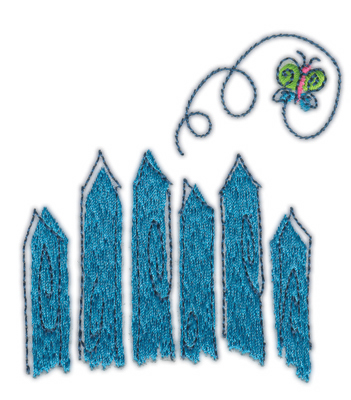 "Embroidery Design: Fence  and Butterfly3.15"" x 3.55"""