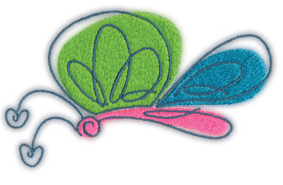 "Embroidery Design: Butterfly 14.68"" x 2.62"""
