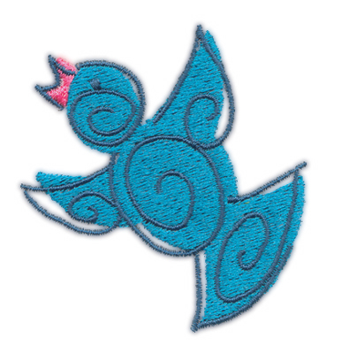 "Embroidery Design: Blue Birdie 12.35"" x 2.51"""