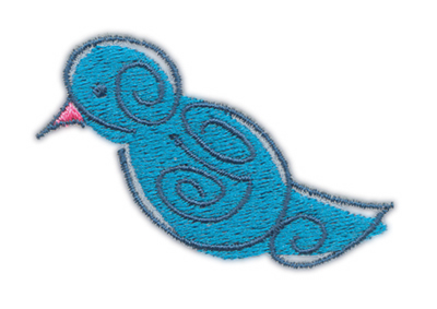 "Embroidery Design: Blue Birdie 22.40"" x 1.60"""