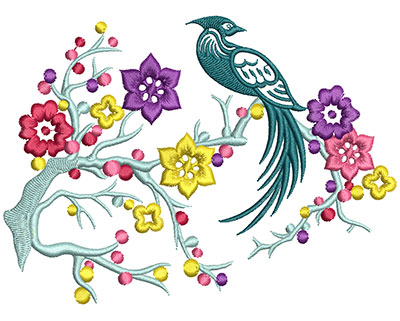 Embroidery Design: Bird on Flowers A Large 5.09w X 3.74h