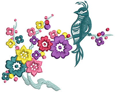 Embroidery Design: Bird on Flowers B Large 4.13w X 5.10h
