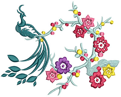 Embroidery Design: Bird on Flowers C Large 5.12w X 4.05h