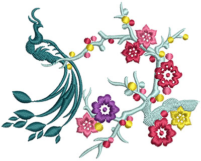Embroidery Design: Bird on Flowers C Small 3.94w X 3.12h