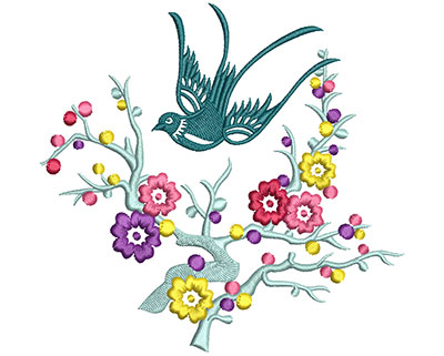 Embroidery Design: Bird on Flowers D Large 5.11w X 4.90h