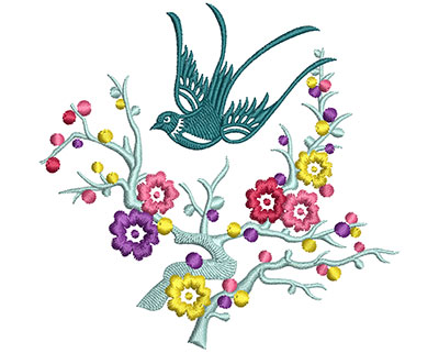Embroidery Design: Bird on Flowers D Small 3.93w X 3.77h