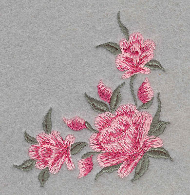 Embroidery Design: Roses Three Corner Small2.77w X 2.99h