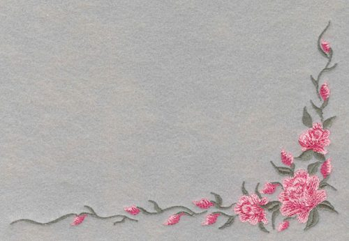 Embroidery Design: Roses Corner with Leaves Small7.6w X 4.95h