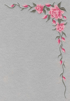 Embroidery Design: Roses Corner with Leaves Large9.86w X 6.44h
