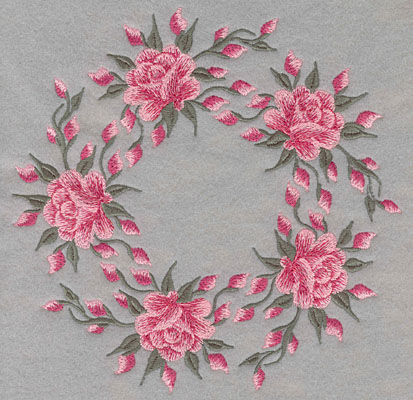 Embroidery Design: Circle of Five Roses7.33w X 7.41h