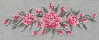Embroidery Design: Roses Horizontal Three6.63w X 2.55h