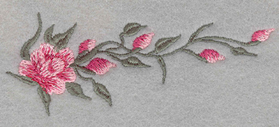 Embroidery Design: Rose Single Horizontal Small4.40w X 1.70h