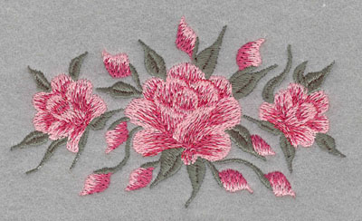 Embroidery Design: Roses Three Horizontal Small4.43w X 2.55h