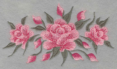 Embroidery Design: Roses Three Horizontal Large5.98w X 3.45h