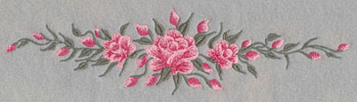 Embroidery Design: Roses Three Horizontal Long10.0w X 2.55h