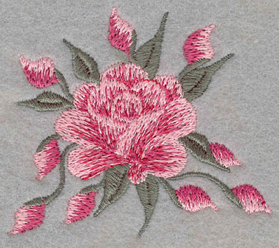 Embroidery Design: Single Rose with Buds2.88w X 1.13h
