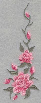 Embroidery Design: Roses Two Vertical 2 Buds Large2.54w X 6.65