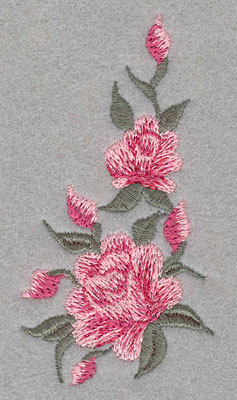 Embroidery Design: Roses Two Vertical 1 Bud Small1.87w X 3.53h