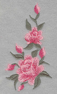 Embroidery Design: Roses Two Vertical 1 Bud Large 2.53w X 4.76h