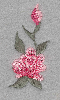 Embroidery Design: Single Rose with Bud Small1.15w X 2.29h