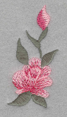 Embroidery Design: Single Rose with Bud Large 1.56w X 3.1h