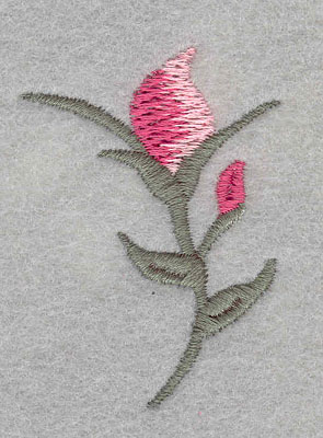 Embroidery Design: Single rose bud 1.49w X 1.99H