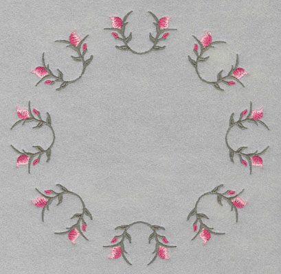 "Embroidery Design: Circle of rose buds7.40""w X 7.40""h"